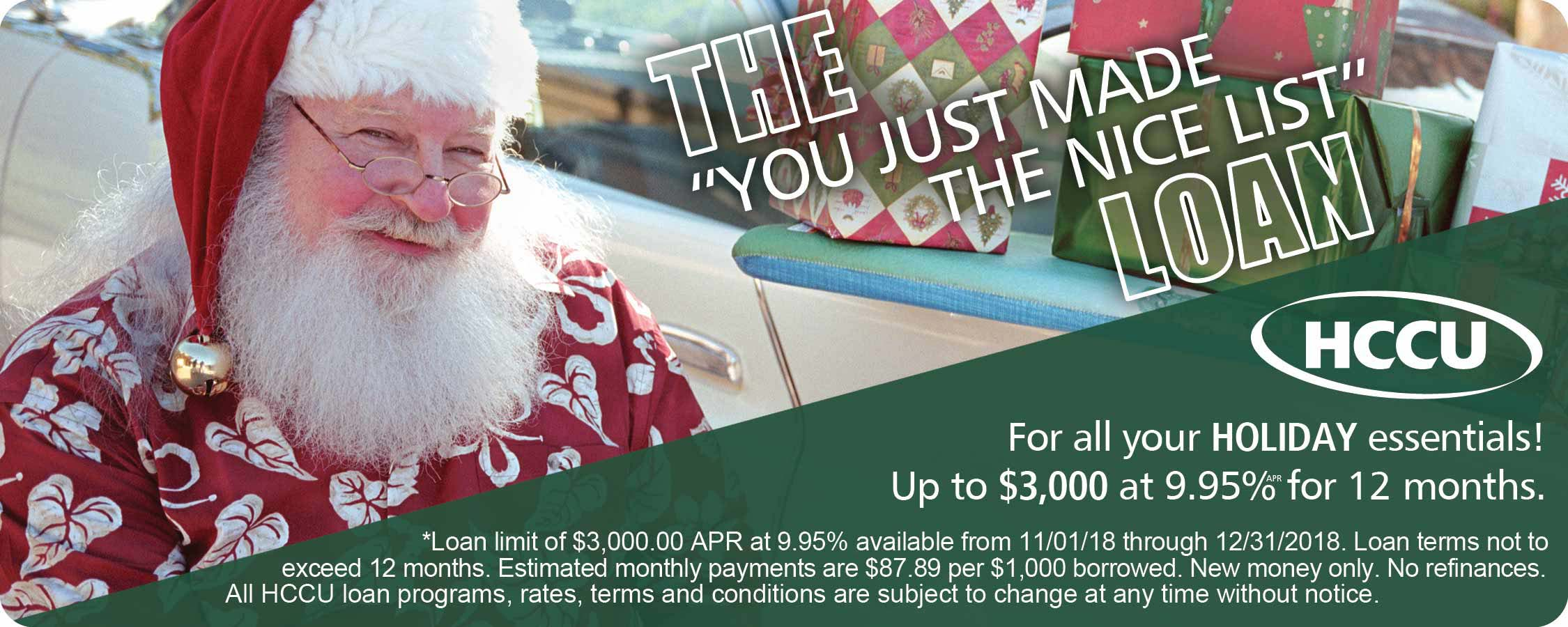 "THE ""you just made the nice list"" LOAN For all your holiday essential! Up to $3,000 at 9.95% APR for 12 months."